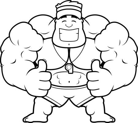 A cartoon illustration of a lifeguard with thumbs up.