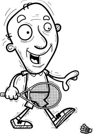 A cartoon illustration of a senior citizen man badminton player walking. Illustration