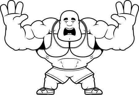 A cartoon illustration of a personal trainer looking scared. Illustration
