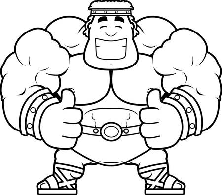 A cartoon illustration of Hercules with thumbs up.
