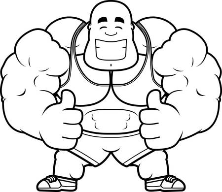A cartoon illustration of a personal trainer with thumbs up. 向量圖像