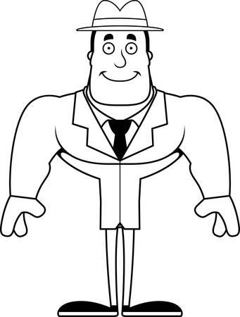 A cartoon detective smiling. Banco de Imagens - 102098872