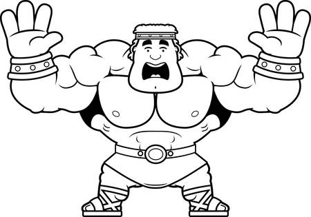 A cartoon illustration of Hercules looking scared. Illustration