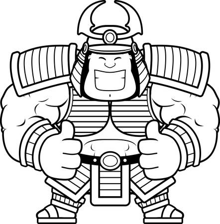 A cartoon illustration of a samurai with thumbs up.