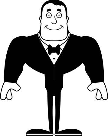 A cartoon groom smiling.