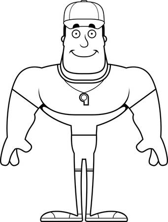 A cartoon coach smiling.