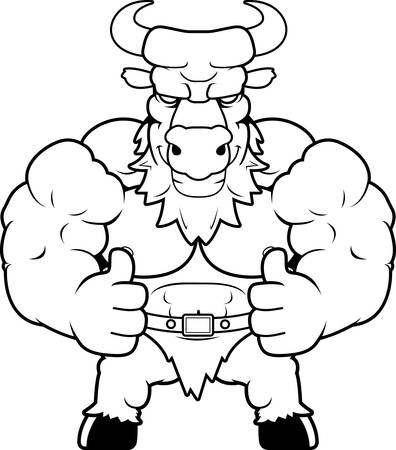 A cartoon illustration of a minotaur with thumbs up.