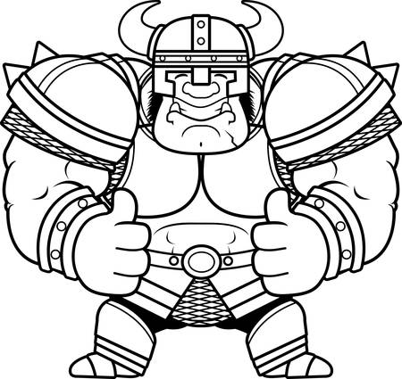 A cartoon illustration of an Orc warrior with thumbs up. Ilustrace