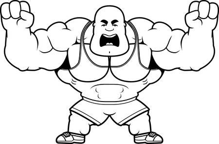 A cartoon illustration of a personal trainer looking angry.