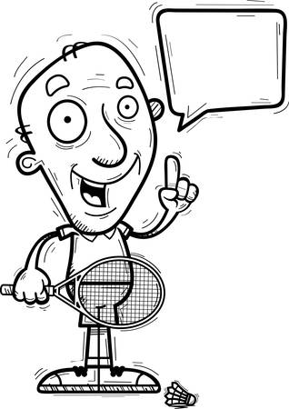A cartoon illustration of a senior citizen man badminton player talking. Illustration
