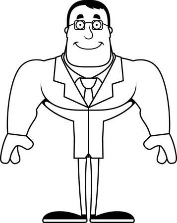 A cartoon scientist smiling.