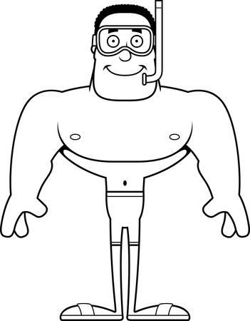 A cartoon snorkeler smiling.
