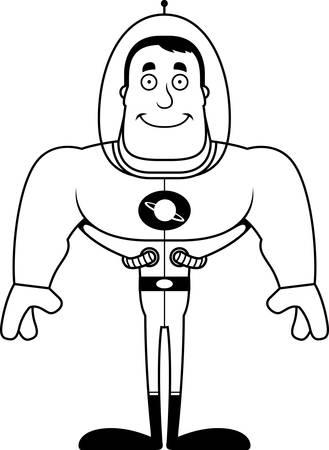 Un astronaute de dessin animé souriant.
