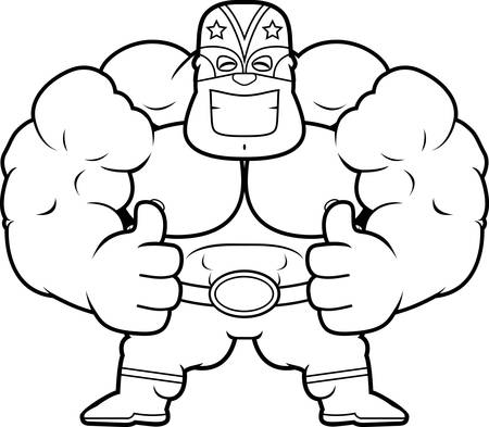 A cartoon illustration of a Mexican luchador with thumbs up. 向量圖像