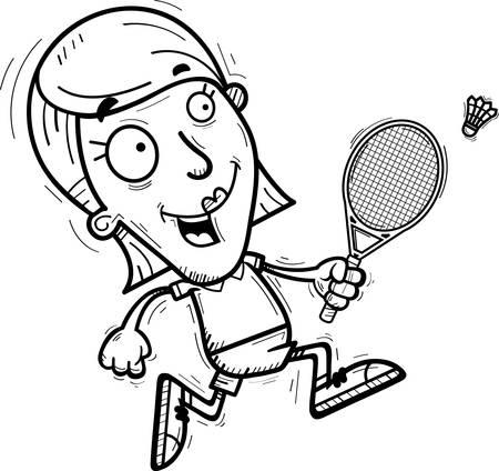 A cartoon illustration of a woman badminton player running.