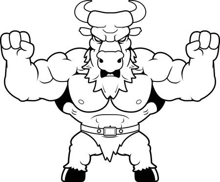 A cartoon illustration of a minotaur looking angry.