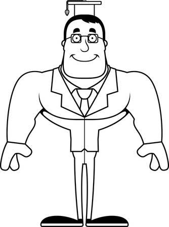 A cartoon teacher smiling.