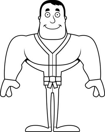 A cartoon karate man smiling.