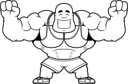 A cartoon illustration of a personal trainer celebrating.