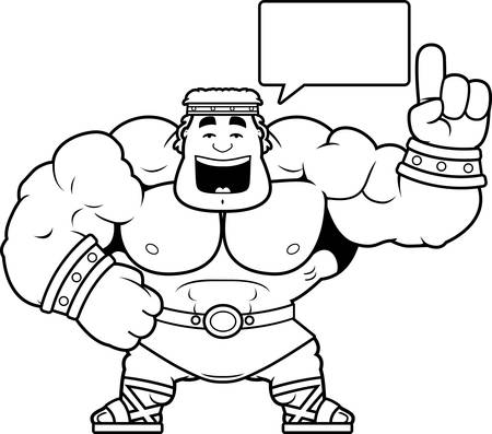 A cartoon illustration of Hercules talking. Illustration