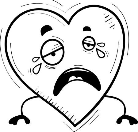 A cartoon illustration of a heart crying. Illustration