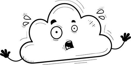 A cartoon illustration of a cloud looking scared.
