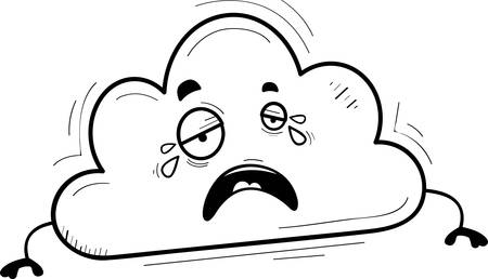 A cartoon illustration of a cloud crying.