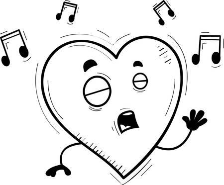 A cartoon illustration of a heart singing.