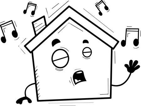 A cartoon illustration of a house singing. Çizim