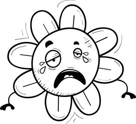 A cartoon illustration of a flower crying. Ilustração