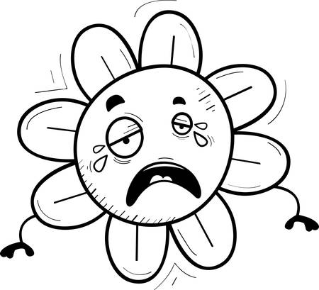 A cartoon illustration of a flower crying. Illustration