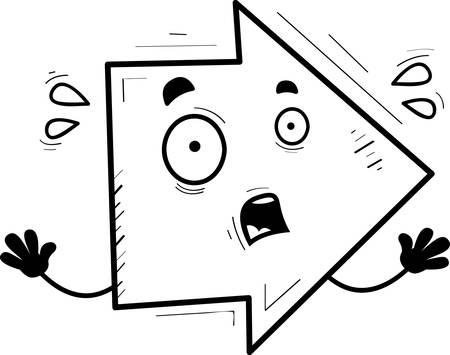 A cartoon illustration of a directional arrow looking scared. Ilustração
