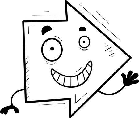 A cartoon illustration of a directional arrow waving.
