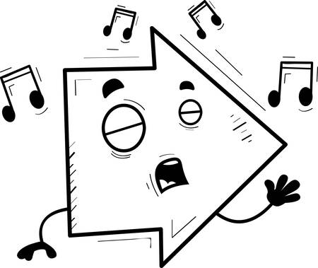 A cartoon illustration of a directional arrow singing.