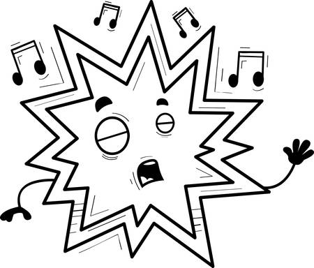 A cartoon illustration of an explosion singing.