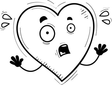 A cartoon illustration of a heart looking scared. Ilustrace