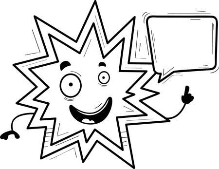A cartoon illustration of an explosion talking.