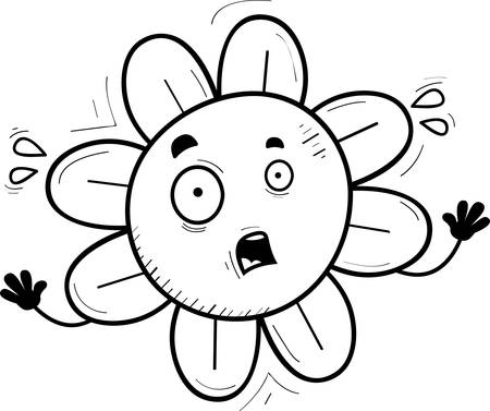 A cartoon illustration of a flower looking scared.