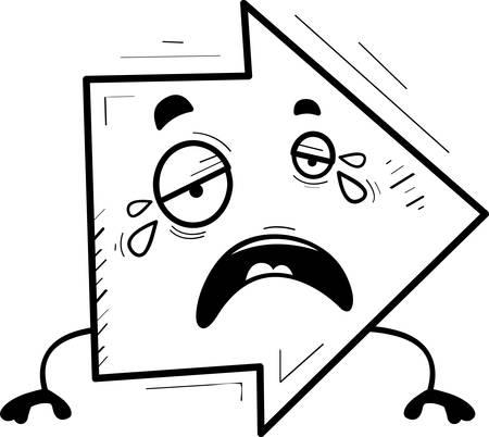 A cartoon illustration of a directional arrow crying. Ilustração