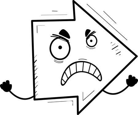 A cartoon illustration of a directional arrow looking angry. Ilustração