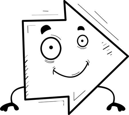 A cartoon illustration of a directional arrow smiling.