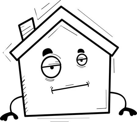 A cartoon illustration of a house with a bored expression.