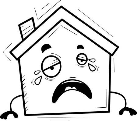 A cartoon illustration of a house crying.