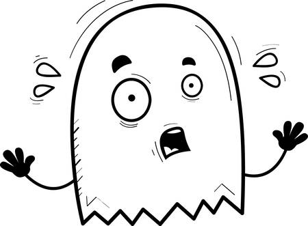 A cartoon illustration of a ghost looking scared. Ilustrace