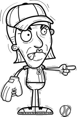 A cartoon illustration of a senior citizen woman baseball player looking angry and pointing.