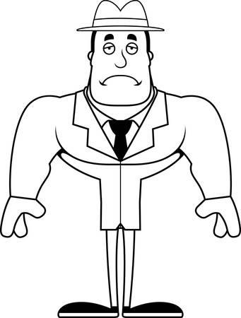 A cartoon detective looking sad. Banco de Imagens - 102097999