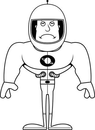 A cartoon astronaut looking sad.