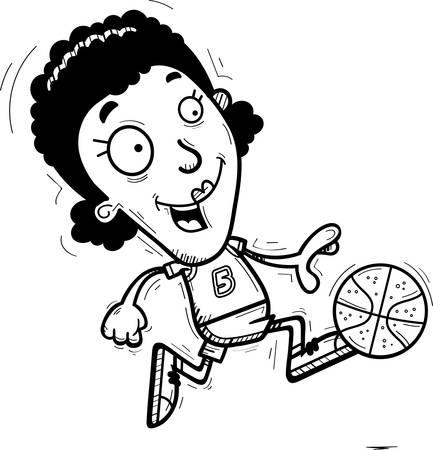 A cartoon illustration of a black woman basketball player running.