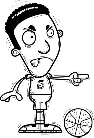 A cartoon illustration of a black man basketball player looking angry and pointing.