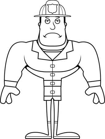 A cartoon firefighter looking sad. Illustration